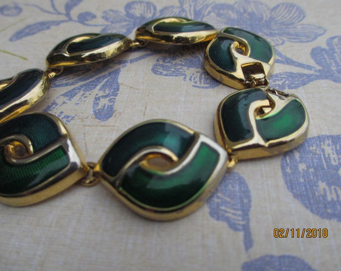 Rare and Stunning Beautiful Vintage Emerald Green Link Bracelet, Green Vintage Link Bracelet