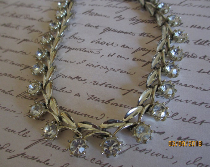 Unique Beautiful Stunning Silver Rhinestone Choker Style Evening Necklace,  Vintage Evening Necklace, Something Old Bridal Necklace