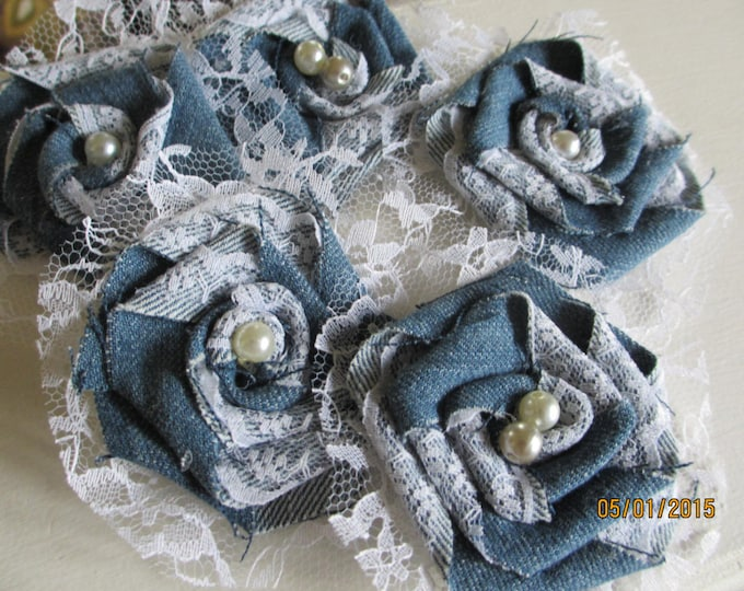 50% off New 5 Assorted Denim and Lace Fabric Roses, Cake topper Flowers,Denim Fabric Roses, Denim Bouquet Flowers