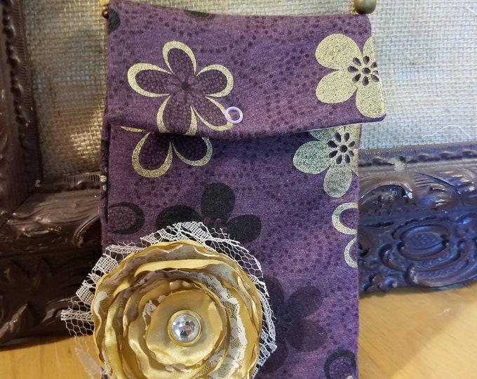 New Sale Handmade Crossbody Purple Cell Phone Purse w Wooden Beaded Strap, Crossbody Purse, Purple Floral Purse