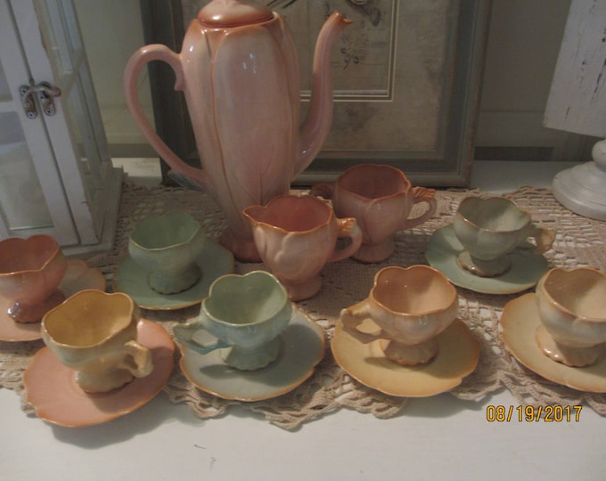 Extremely Rare 1940's Brad Keeler Porcelain Tea Set, 17 Piece Vintage Keeler Rose Floral Tea Set,Vintage Rose Demitasse Tea Set--See Details