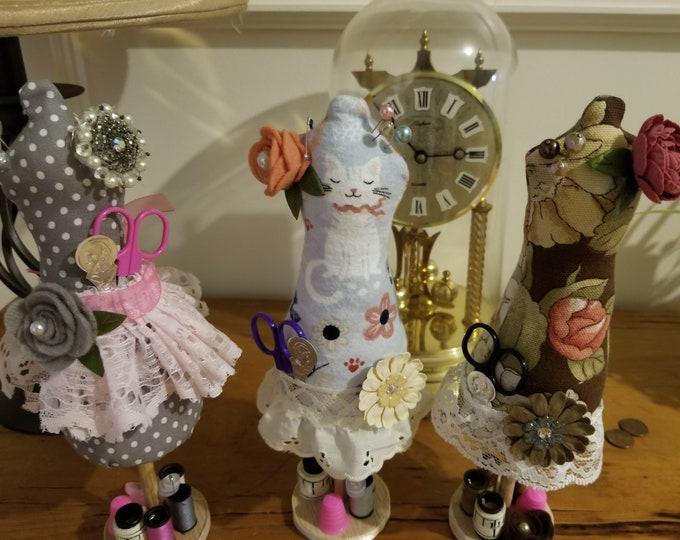 New Handmade Cat Dress Form Mannequin Pincushion, Dress Form Sewing Pincushion,Sewers Gift,Grandma Sewing Gift, Dress Form Sewing Pincushion