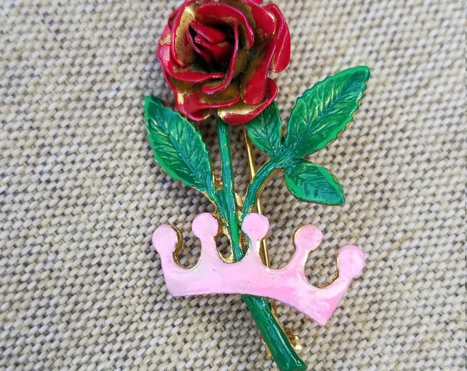 Unique Vintage Hand Painted Rose Crown Pin Brooch,  Red Rose Pin, Something Old Rose Pin, Mom Rose Pin Gift, Bridal Pin, Maid of Honor Gift