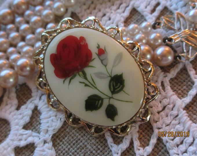 Unique Vintage Rose Cameo Pin Brooch, Vintage Cameo Pin, Something Old Cameo Pin, Mom Rose Cameo Gift, Bridal Jewelry