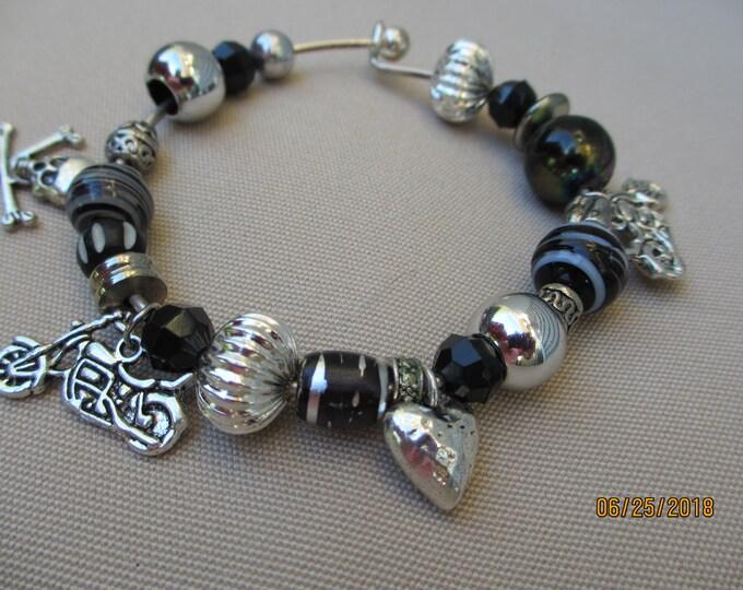 Unique Bangle Motorcycle Charm Bracelet, Harley Motorcycle Inspired Motorcycle Bracelet,