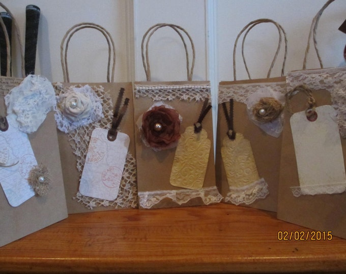 New Item Sale 6 Assorted Rustic Shabby Chic Hotel Wedding Guest Gift Bags, Bridal Shower Favor Bags, Wedding Favors