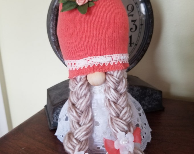 New Handmade Super Cute New Easter Bride Gnome, Flower Girl Gnome,Spring Flower Gnome,Spring Bride Gnome