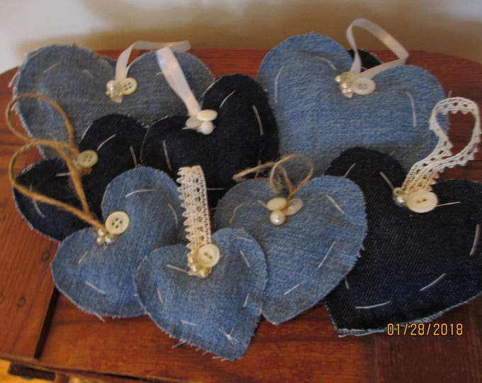 5 Asst Rustic Denim Heart ornaments, Rustic Country Style Denim Hearts, Denim Shower Heart Ornaments, Baby Room Denim Home Decor Hearts