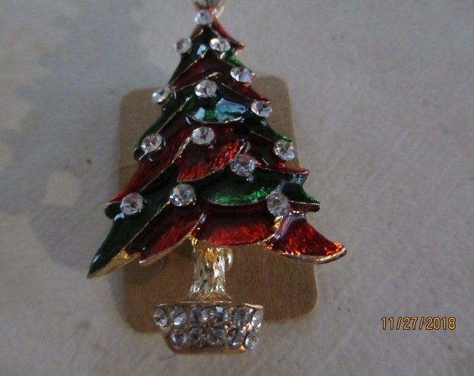 Unique Enamel Colorful Christmas Tree Pin Brooch Rhinestone accent, Holiday Pin, Christmas tree Pin