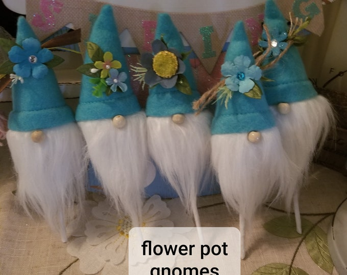 New 5 Assorted Super Cute Flower Pot Gnome, Easter spring Gnome Pin, Spring Flower Gnome, Gnome favors