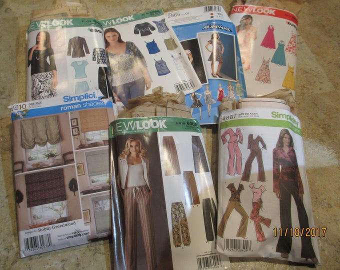 7 Asstd Clothing Fabric Patterns, Simplicity Clothing Patterns, Curtain Patterns