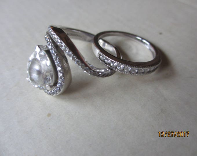 2 Unique Sterling Silver .925 CZ Tear Drop Ring and Band, Vintage Sterling Silver CZ Band, 2 Pretty Sterling Tear Drop Wedding Bands