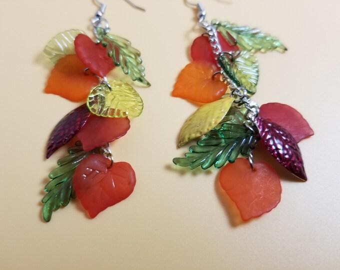 Colorful Dangle Fall Orange Leaf Charm Earrings,  Fall Charm Earrings, Fall Bridal Earrings, Fall Wedding Gift, Fall Jewelry, Teachers Gift