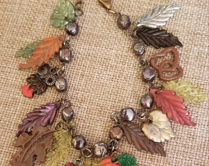 Colorful Hand Painted Fall Leaf Charm Bracelet, Antique Bronze Fall Leaf Bracelet, Fall Wedding Gift, Fall Jewelry