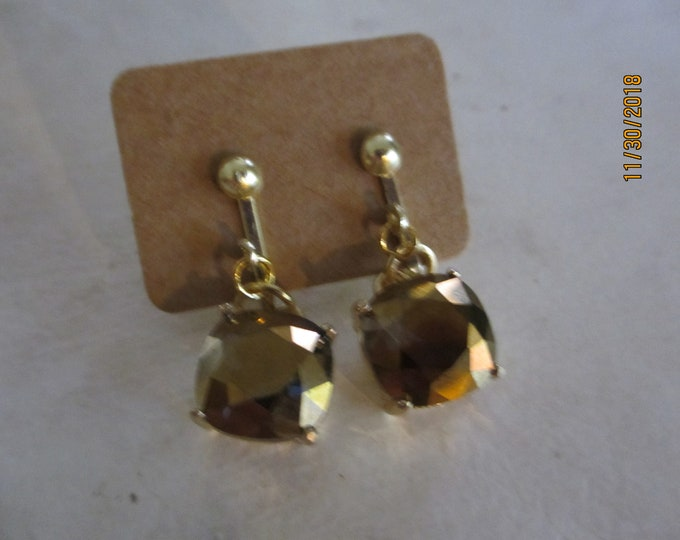 Pretty Unique Brown Quartz Rhinestone Earrings, Petit Brown Rhinestone Earrings