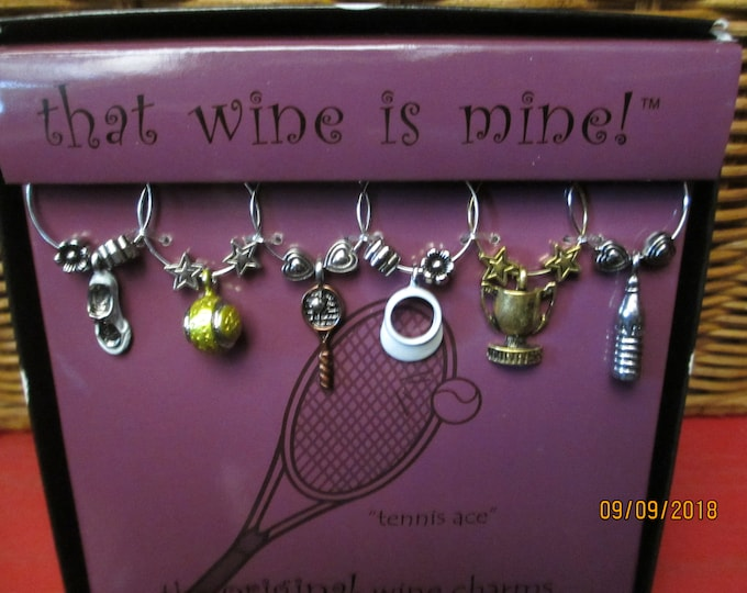 6 Asstd Whimsical Tennis wine Glass Charms, Tennis Gift, Tennis Coach Gift, Girls Night out Gift
