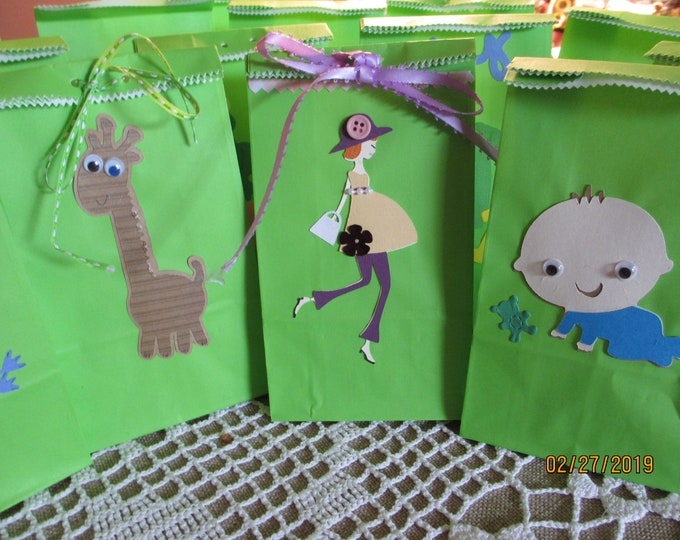 New 8 Asstd Handmade Neutral Small Baby Shower Favor Bags, 3.5x 2x 6.75 Shower Favors, Baby Favor Bags