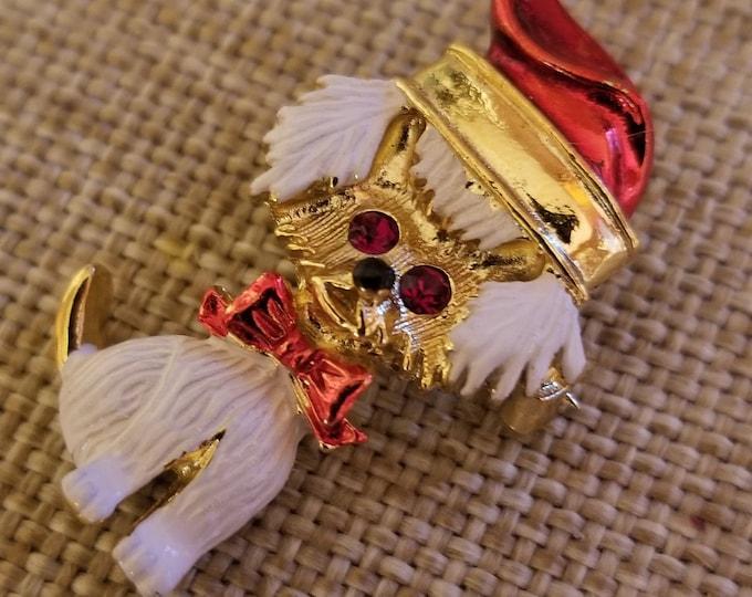 Unique Vintage Signed Gerrys Colorful Christmas Puppy Pin Brooch, Vintage Dog Pin, Santa Gog Pin, Dog w Santa Hat Pin,Dog Lovers Pin Gift