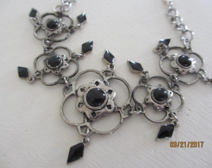 Unique Silver w Onyx Navajo Style Bracelet, Antique Silver w Onyx Bracelet, Navajo Style Bracelet