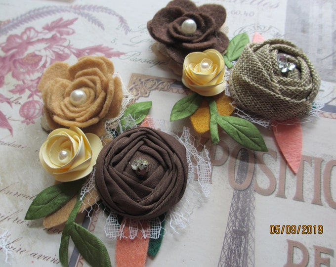 Rustic Flower Fall Headband Flowers,Felt  Rustic Fall Flower Corsage, Rustic Boutonniere, Rustic Bridal Party Shower Favors, Rustic Wristlet