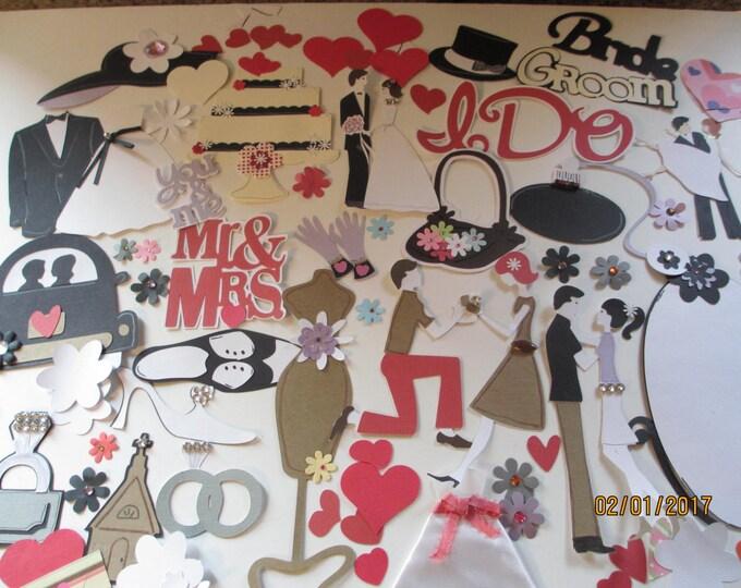 SALE 80 Piece Complete Wedding Scrapbook Die Cuts, Create Your Own Wedding Scrapbook Pages, Bridal Shower ScrapbookGift