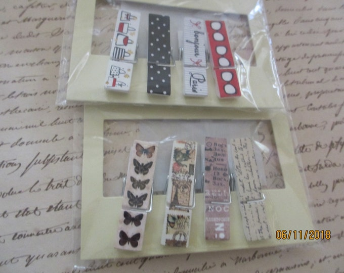 Set of 8 Country Modern French Clothespins, Country French Clothespins Favors,