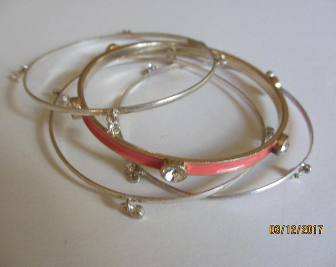 Set of 4 Asstd Pretty Peach and Silver Vintage Bangle Bracelets, Vintage Silver Rhinestone Bangle Bracelets, Casual Vintage Jewelry