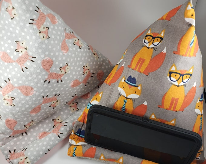 New Sale Fox  Fabric Phone Pillow Stand, Kids Fox w Glasses Fabric Phone Pillow, Fox Fabric iPad Pillow Stand , Student Phone Pillow Stand