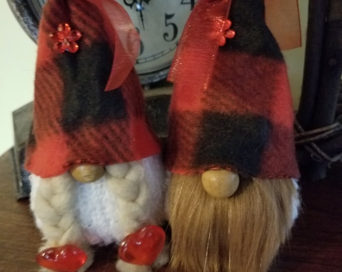 Handmade Super Cute Black Red Check Hat Gnome Couple, Friendship Gnome, Wedding Gnome Couple, Love Gnome, Birthday Gnome, Shower Gift Gnome