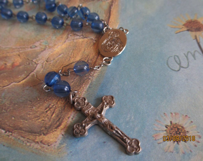 Beautiful Vintage Silver Blue Rosary Beads w Cross, Vintage Rosary Cross, Communion Rosary Gift, Confrmatiuon rosary gift