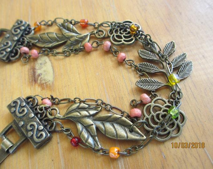 New 3 Strand Custom Design Antique Bronze Fall Leaf Charm Bracelet, Fall Leaf Bracelet, Fall Jewelry, Fall Wedding Gift