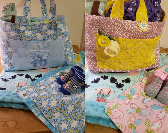 New Reversible Baby's Room Tote Bag, Baby Shower for Gift Basket Tote, Baby's Storage Basket, New Mom Gift