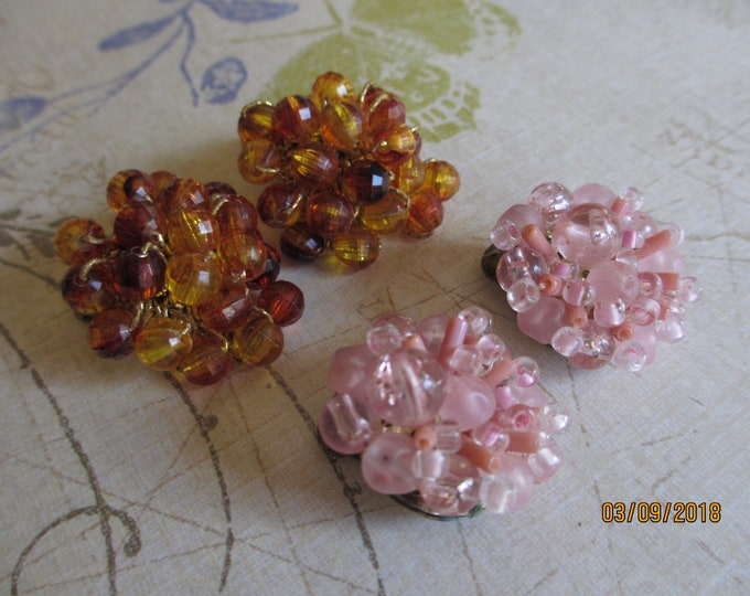 Beautiful  Brown Vintage Beaded Cluster Earrings, Vintage Beaded Clip On Earrings, Flower Girl Earrings, Spring Summer Earrings