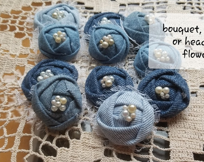 Asstd Denim Bouquet Flowers, Baby Shower Flower Favors, Denim Headband Flowers, Denim Corsage Flowers,Denim Garland Flowers,Babys Room Decor