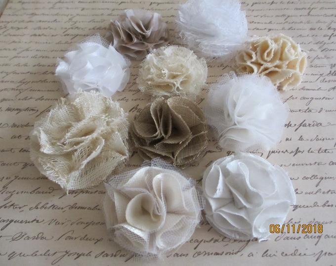 6 Asstd Handmade Rustic Pom Pom Flowers, Rustic Corsage FLowers, Rustic Shower Favor Flowers, Rustic Bouquet Flowers