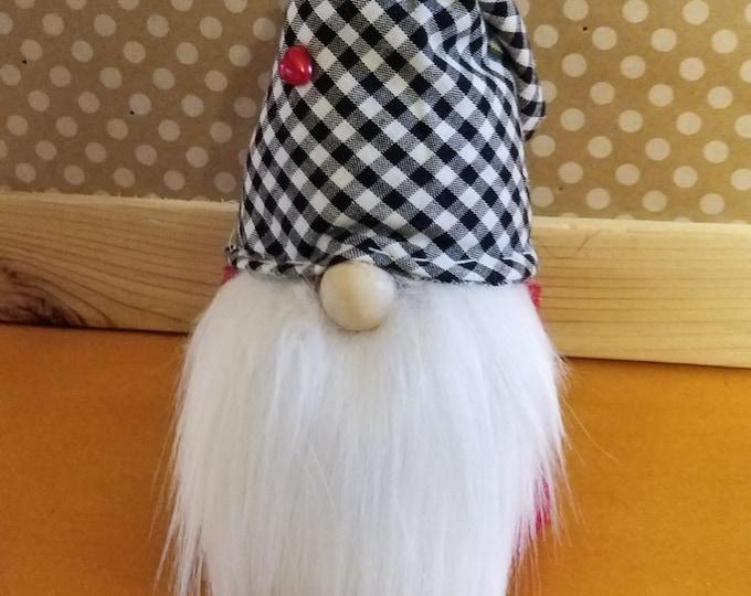 Handmade Super Cute Black White Check Hat Gnome, Friendship Gnome, Wedding Gnome, Love Gnome, Birthday Gnome Home Decor Gnome
