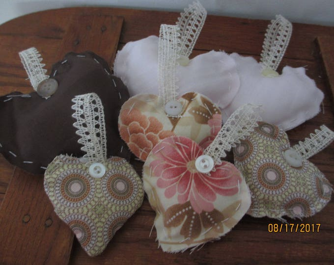 5 Asst Rustic Brown Pink Hearts, Rustic Country Style Hearts, Rustic Chic Baby Shower Hearts, Shabby Chic Baby Girl Room Decor Hearts