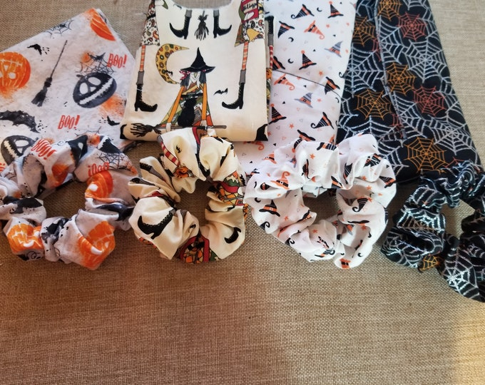 New Handmade Halloween Scrunchies, Witches Hat Scrunchies, Spider Web Scrunchies, Pumpkin w Broom Scrunchies