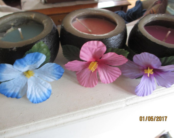 3 Assorted Hawaiian Lei Flower Coconut Candle, Hawaiian Coconut Candle Centerpieces, Tropical Candle Favors