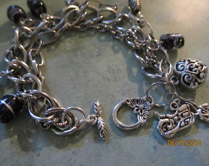 Triple Strand Motorcycle Charm Bracelet, Harley Motorcycle Inspired Motorcycle Bracelet