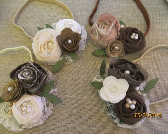Summer Sale Rustic Baby Flower Fall Headband Flowers,Felt  Rustic Fall Flowers, Rustic Baby, Rustic Flower Girl Headband,Baby Photo Headband