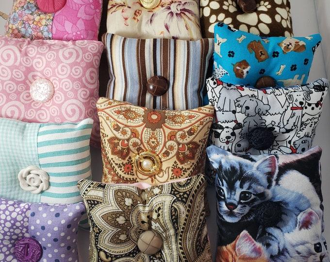 New Set 4 Asstd Pincushions, Beginner Sewer Gift, Puppy Pincushion, Kitten Fabric Pincushion, Grandma Gift Beginner Quilter Pincushion Gift