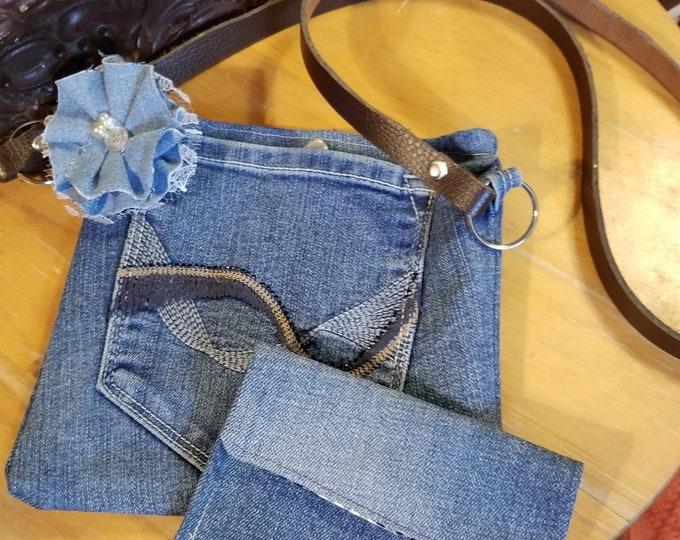 50% Off New Handmade Denim Crossbody Purse, Denim Cell Phone Purse w/ Wallet, Nurses Gift, Teachers Gift, Travel Crossbody Purse