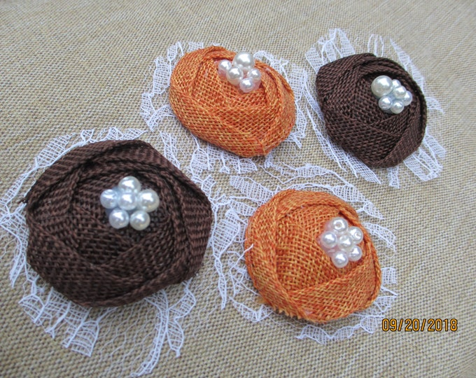 New 6 Rustic Style Fall Burlap Flowers,  Fall Burlap Bouquet Flowers, Fall Headband flowers, Fall Barrette Flowers