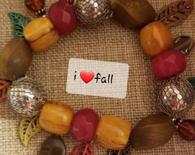 New Fall Sale Colorful Stretch Hand Painted Fall Leaf w Acorn Charm Bracelet, Fall Leaf w Acorn Bracelet, Fall Wedding Gift, Fall Jewelry