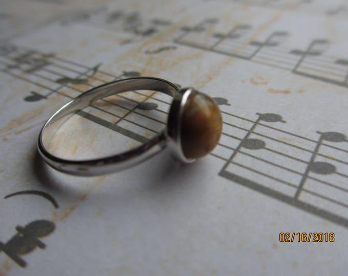 Petite Brown Tigers Eye Ring, Sterling Silver Plated Brown Tigers Eye Stone Ring
