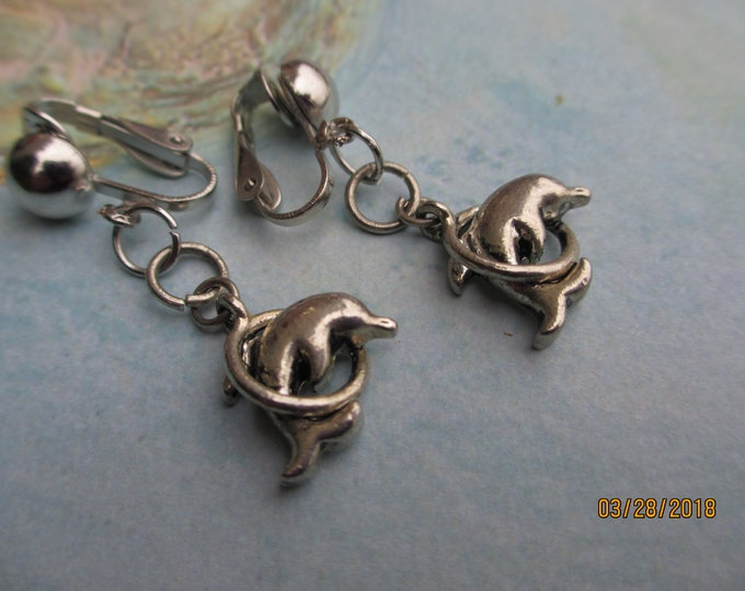 New Handmade Clip on dolphin Charm Earrings, Summer Earrings, Beach Jewelry