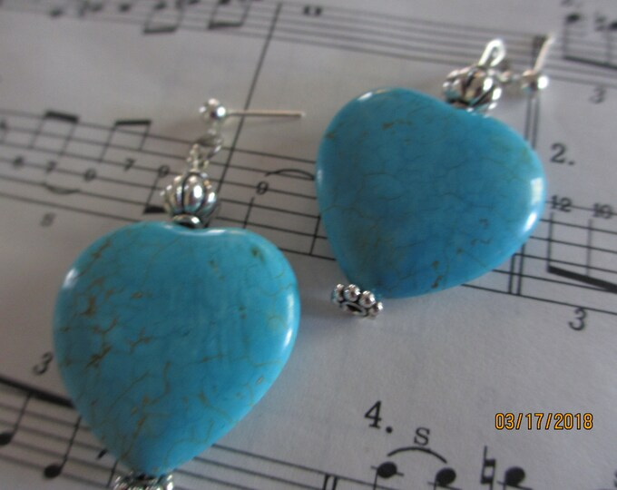 Pretty Turquoise Heart Pendant Earrings, Turquoise Earrings, Something Blue Bridal Earrings,