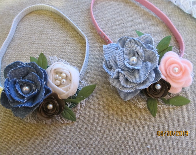 Sale Rustic Baby Flower Rustic Denim Rose Headband Flowers, Rustic Denim Rose Headband Flowers, Rustic Flower Baby Photo Headband,