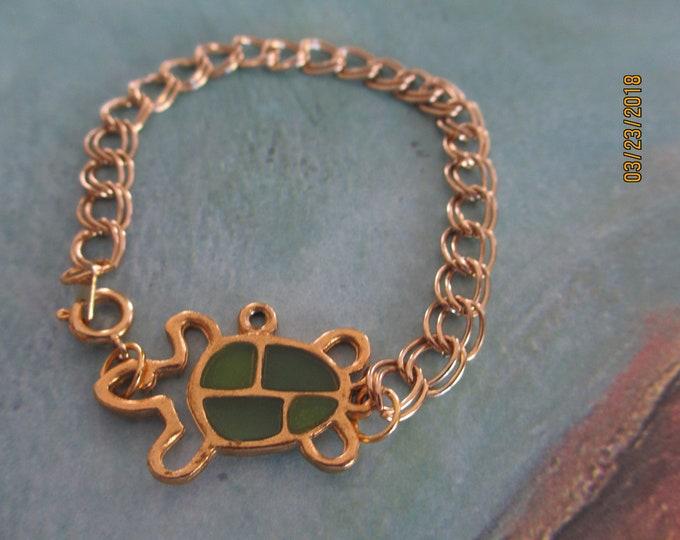 Sale Fun Turtle Charm Bracelet, Handmade Turtle Charm Link Bracelet